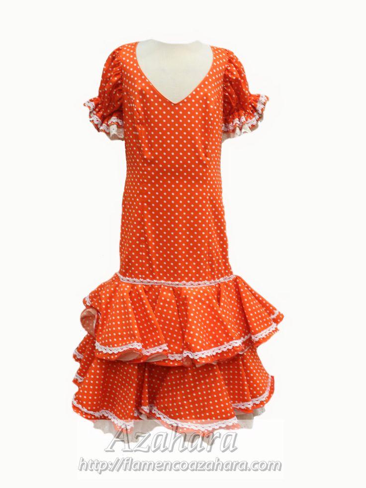 #TrajeDeGitana con fondo naranja y topos en blanco. De media manga.  Disponible en #Azahara #Fuengirola