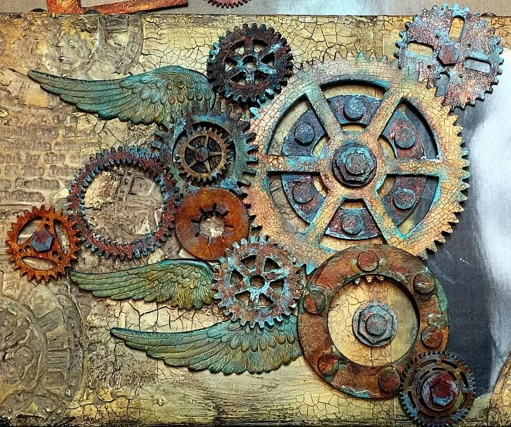 Altered Chipboard Gears with Media Fluid Acrylics by Candy Colwell #decoartprojects