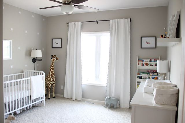 Again simple/clean nursery. We have curtains in ours already. This kind of set up with the door across from the window. I think the crib will kind of go where this one is.
