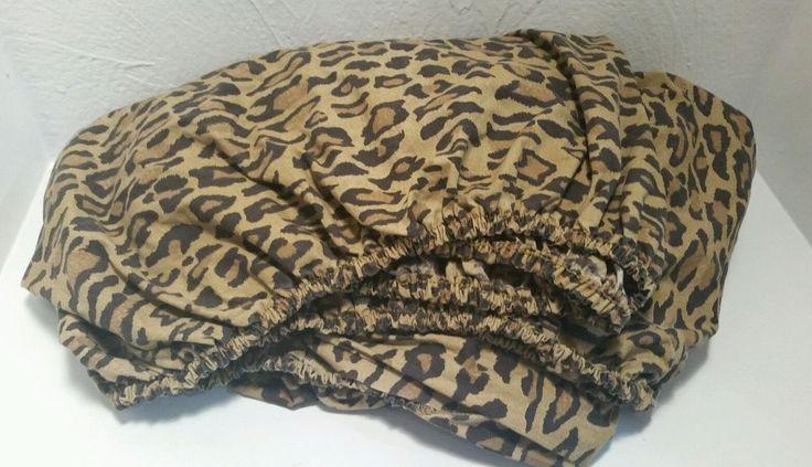 VINTAGE RALPH LAUREN ARAGON FULL FITTED SHEET LEOPARD PRINT BED #RalphLauren #Tropical