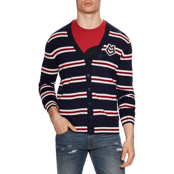 Love Moschino Men's Wool Striped V-Neck Cardigan - Dark Blue, Size L (325 BRL) ❤ liked on Polyvore featuring men's fashion, men's clothing, men's sweaters, dark blue, mens vneck sweater, mens sweaters, mens merino wool v neck sweater, mens wool sweaters and mens v neck cardigan sweater