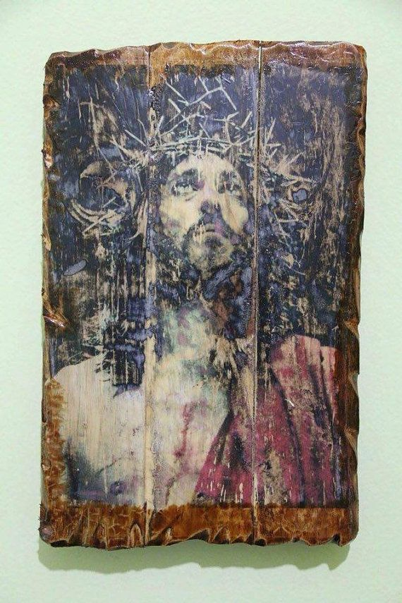Jesus or Jesus Christ (in crown of thorns). Handmade in Hellas-Greece. Dimensions: 7,85 x 11,80 inches / 20 x 30 cm