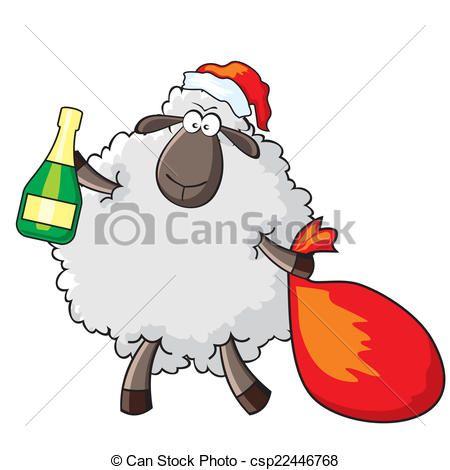 Vector - schaap, kerstman - stock illustratie, royalty-vrije illustraties, stock clip art symbool, stock clipart pictogrammen, logo, line art, EPS beeld, beelden, grafiek, grafieken, tekening, tekeningen, vector afbeelding, artwork, EPS vector kunst