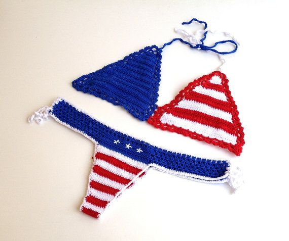 4th of july american flag bikini top and bikini bottom brazilian bikini bottom crochet bikini swimsuit women stars and stripes senoAccessory on Etsy, 39,80 $