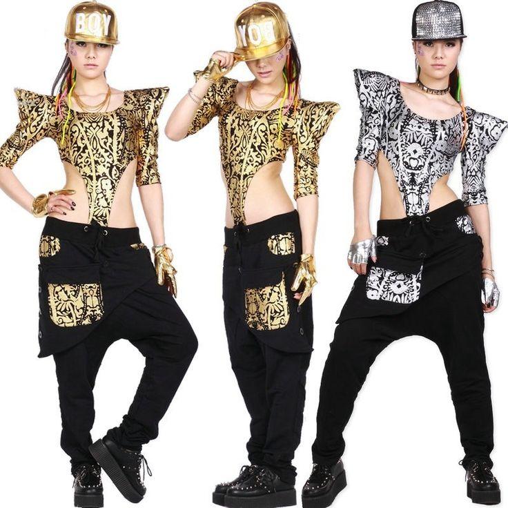 New fashion Adulti Donne Hip Hop Dance wear TopsTextured Jazz Ds Costumi Oro Argento Tuta Scava fuori Sexy Tuta