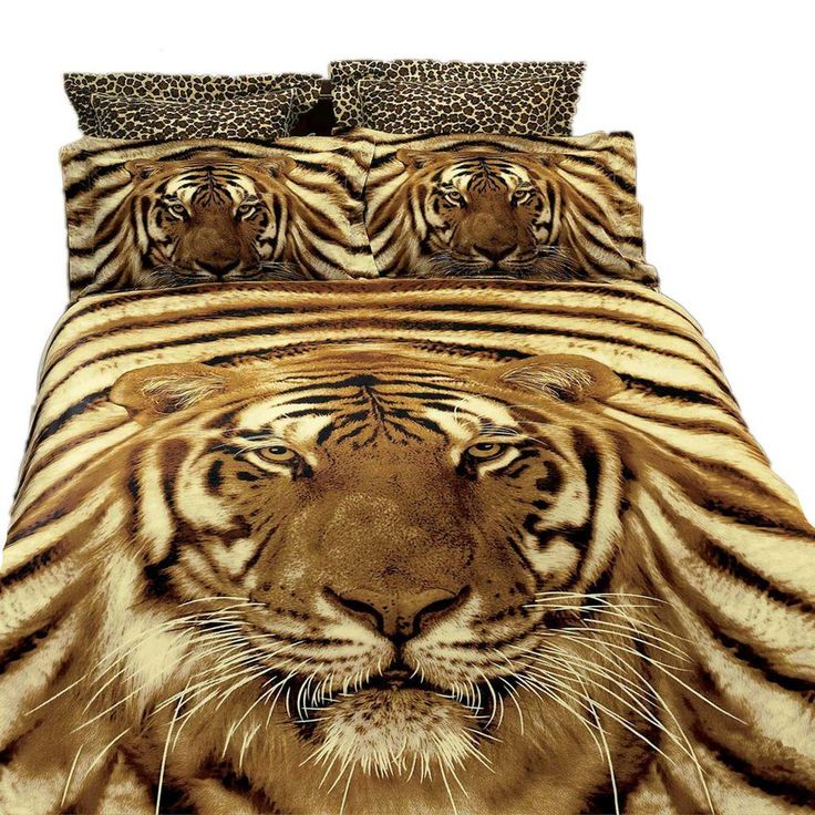Queen Size Duvet Cover Sheets Set, Siberian Tiger