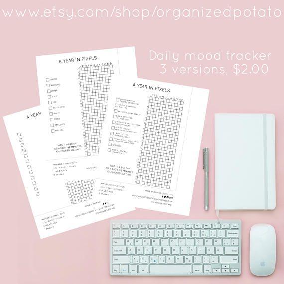 A Year in Pixels Bullet Journal Inspired Daily Mood Tracker #printable #plannerprintable #happyplanner #bujo #bulletjournal #ayearinpixels #moodtracker #emotiontracker #plannerideas #happyplannerideas #filofax #erincondren #kikkik #minimal #minimalist