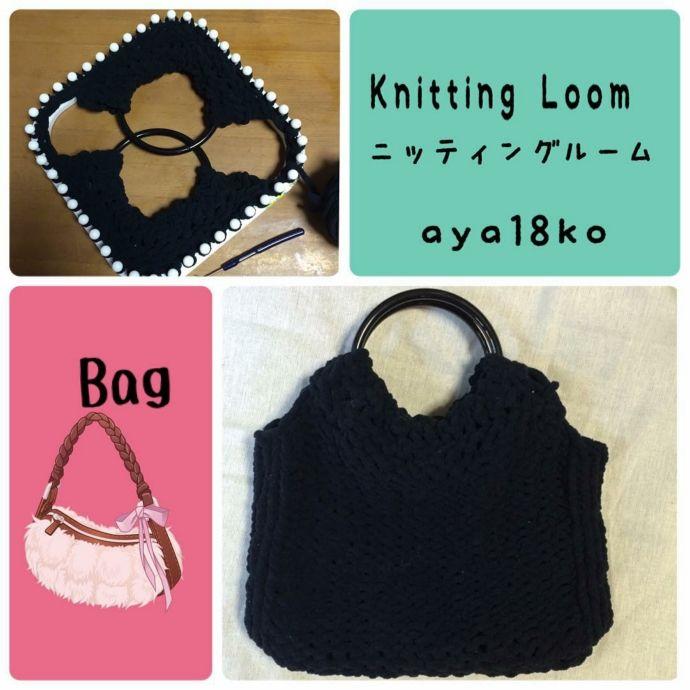 Loom knitted handle bag by @aya18ko