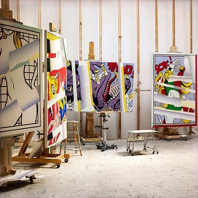 Roy Lichtenstein's studio. Photograph by Laurie Lambrecht.                                                                                                                                                                                 Plus