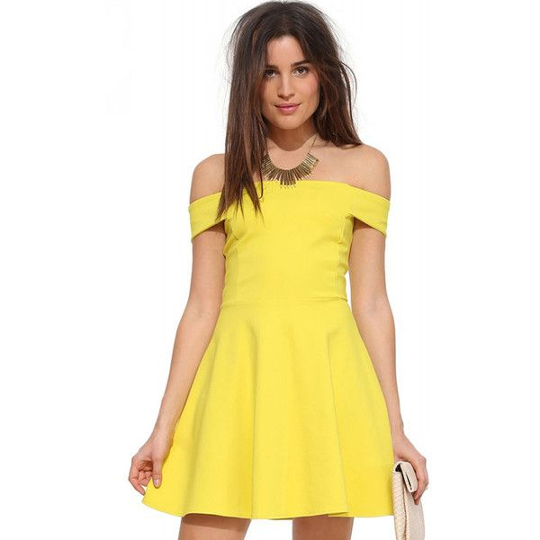 Yellow Off Shoulder High Waist A Line Party Dress ($30) ❤ liked on Polyvore featuring dresses, yellow, off shoulder dress, short sleeve dress, off the shoulder mini dress, short-sleeve dresses and a line mini dress