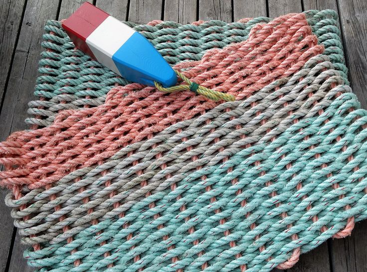 Recycled Reclaimed Lobster Rope Mat Handwoven Unique Gift Rope Rug