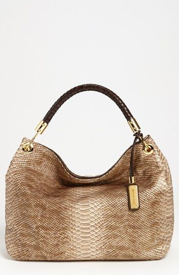 $397, Tan Snake Leather Tote Bag: Michael Kors Michl Kors Skorpios Python Print Shoulder Bag. Sold by Nordstrom.