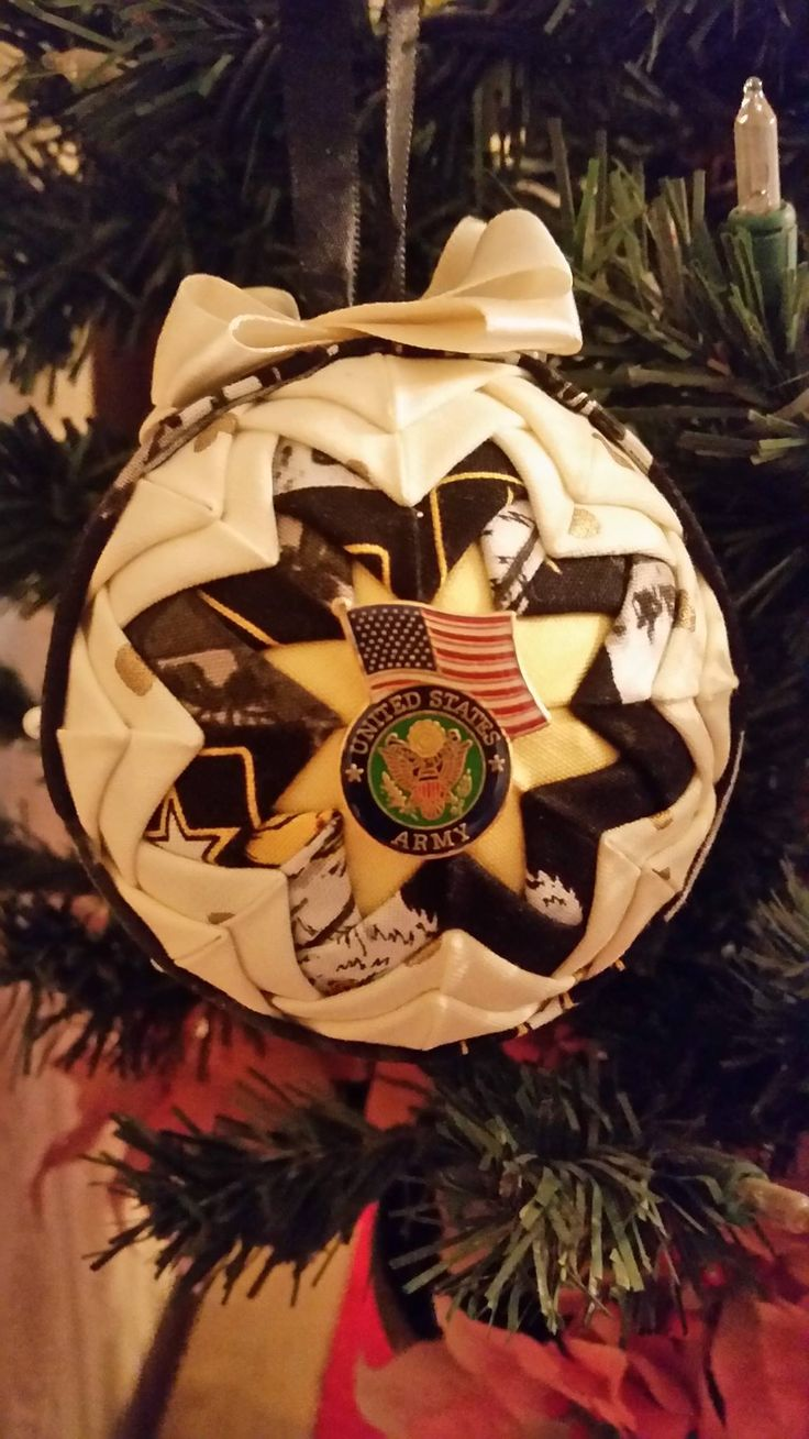 Deployment Ornament made by me! Army Military Fabric with US Army Pin. Jan  2017