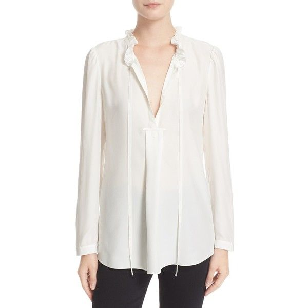 Women's Parker 'Janice' Split Neck Silk Blouse ($270) ❤ liked on Polyvore featuring tops, blouses, ivory, long sleeve silk blouse, white tops, silk blouse, white blouses and ruffle collar blouse