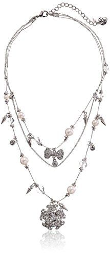 """Betsey Johnson """"Pretty Punk Pearl"""" Flower and Bow Illusion Necklace, 19"""" >>> Check out the image by visiting the link."""