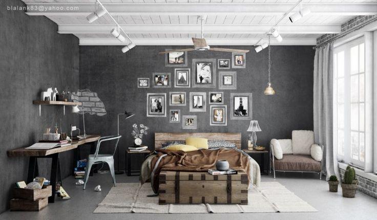 industrial bedroom design 3 - walll of frames, yup.