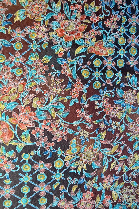 Vintage Japanese silk crepe kimono fabric 92 cm by BittaLimeKimono