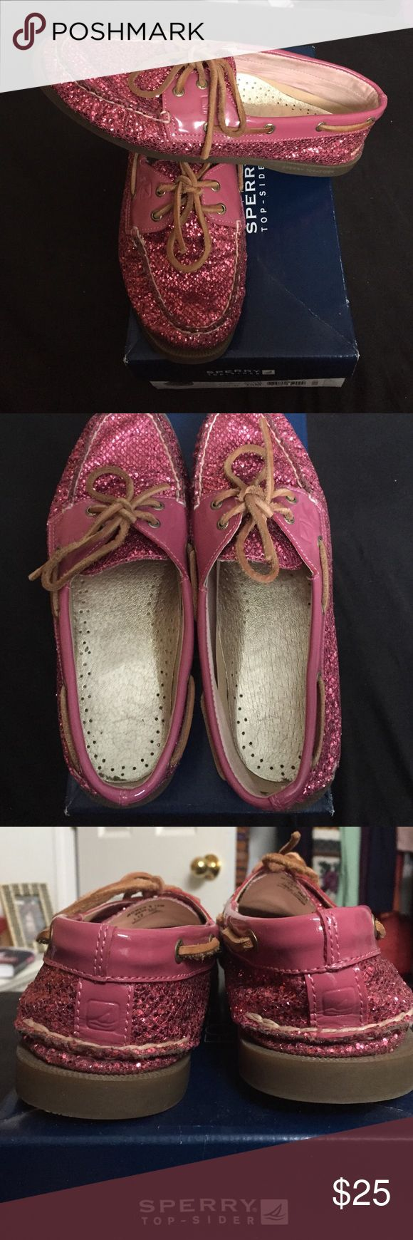 ☀️1 HOUR SALE  Pink Glitter Sperry Top-Sider Shoes Very good condition. No weird smells, holes, or stains. As far as I can tell there are no scuffs. Lightly worn, so these still look amazing. Super cute with any outfit. Comes with original box. Please ask for more pictures or information as needed. Sperry Shoes