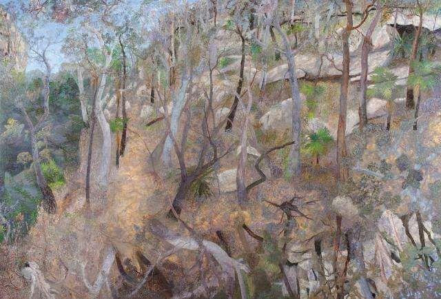 Sunlight hillside, Carnarvon 2009  oil on linen 152 x 229 cm  WR at Australia Galleries