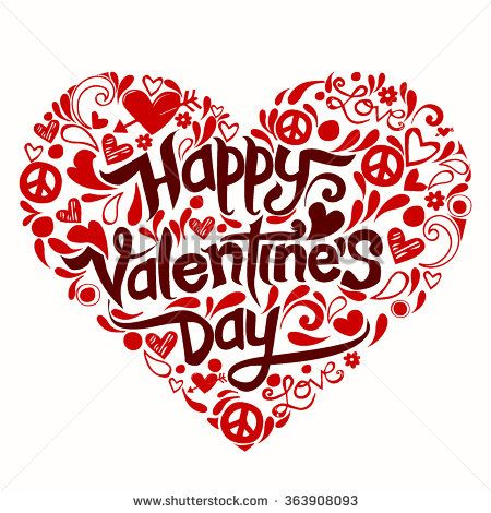 Doodles Valentine day  illustrations and typography elements - stock vector