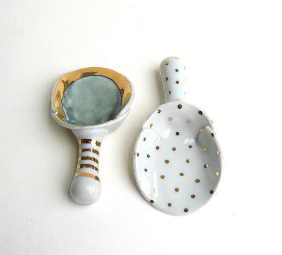 Gold Polka Dot Porcelain by SilverLiningCeramics