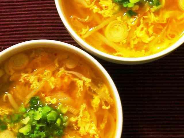 もやしとキムチとタマゴのおかずスープの画像