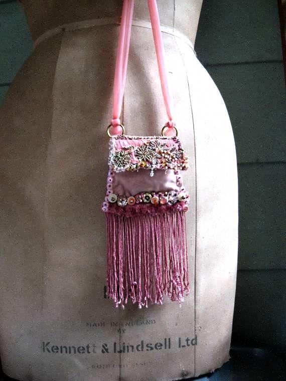 Antique Velvet Pouch, Bag Necklace, Antique Embroidered, Long Fringe, Pink, Beaded, Boho