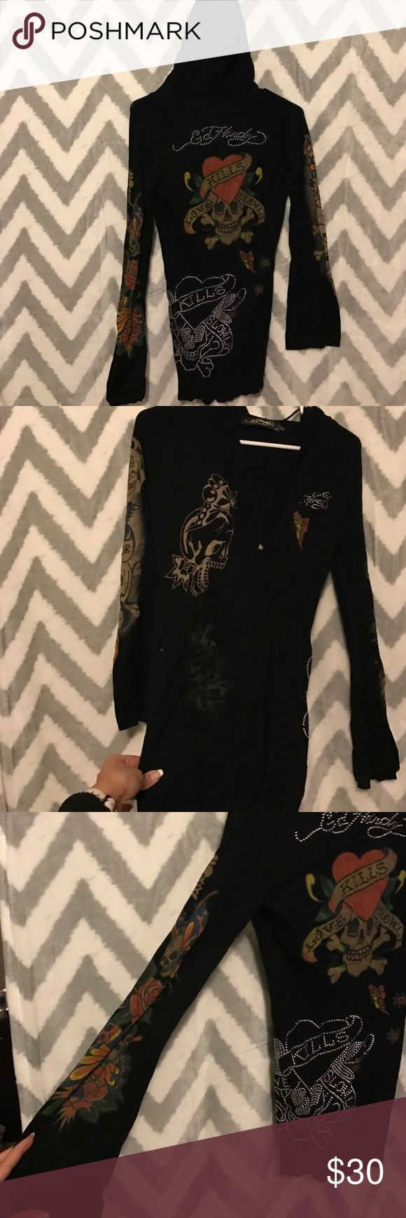 """Ed hardy hooded sweater Super cute and slimming! Ed hardy black and """"tattooed"""" hooded sweater. Long and has cute flared sleeves. Ed Hardy Sweaters V-Necks"""