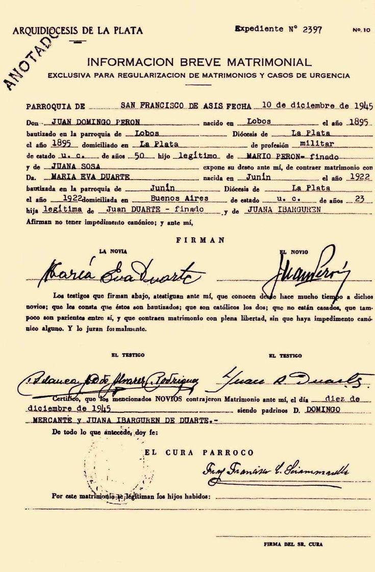 Acta de matrimonio religioso de Perón y Eva Duarte en la Parroquia de San Francisco de Asís de La Plata, el día 10 de diciembre de 1945. Fray Francisco Sciammarella ofició la boda.