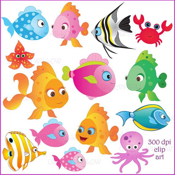SOMETHIN' FISHY - Clip art set in premium quality 300 dpi, Png and Jpeg files. For small business and personal use.