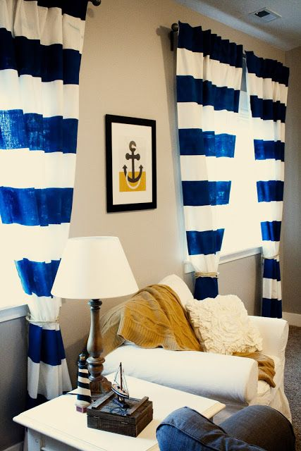 DIY Painted Nautical Curtains