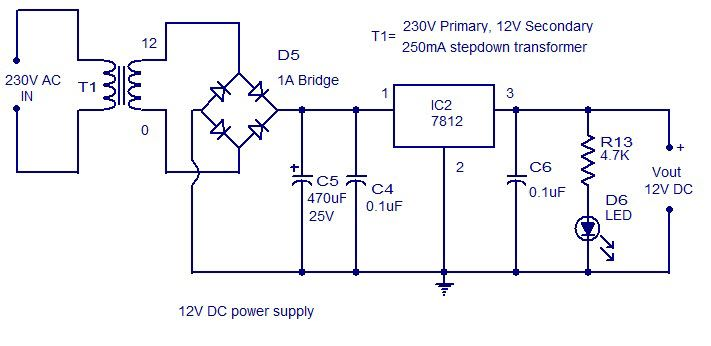 12v Dc Power Supply Circuit Diagram Em 2019