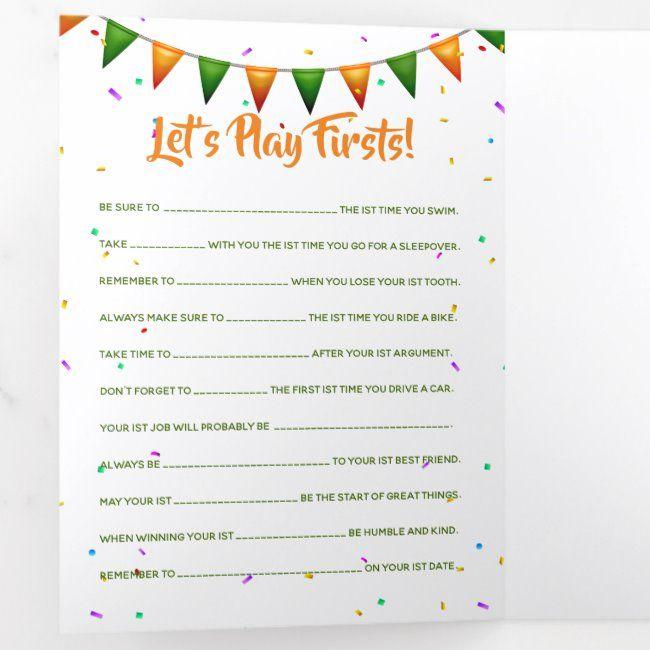 Baby Irish First 1st Birthday Party Games Tri Fold Invitation Zazzle Com 1st Birthday Party Games Birthday Party Checklist 1st Birthday Games