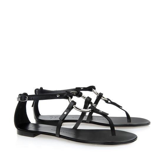 Giuseppe Zanotti Flad tå Indlæg Sandal Designer Black Calf-hud læder 15mm Kvinder