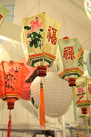 Chinese lanterns for sale in Museum Shop in Oak Bluffs, Massachusetts