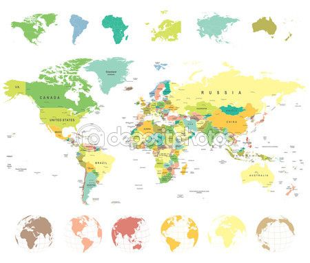 World Map and Globes - illustration. — Stock Illustration #82152958