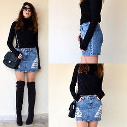 Ripped Again on thevirgostyle.blogspot.gr #thevirgostyle #blog #greece #greek #blogger #love #like #ootd #style #fashion #outfit #lookbook #ripped #skirt #highknee #overknee #boots #suede