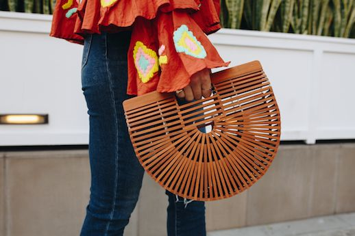 Le Fashion Blog Dark Denim Jeans Acrylic Brown Tote Bag Via Take Aim