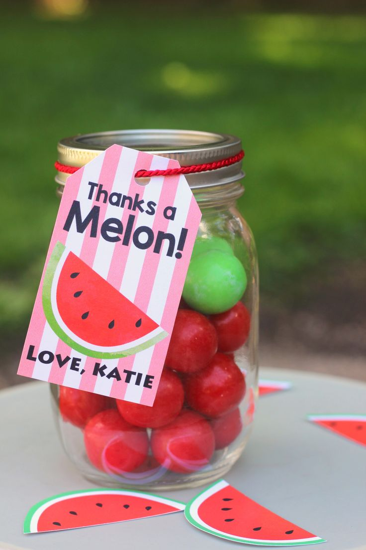 DIY Watermelon Party Theme Personalized Favor Tags. Great theme for a birthday or family bbq. Simply download, add the name, print, cut and assemble.  Make as many as you need.
