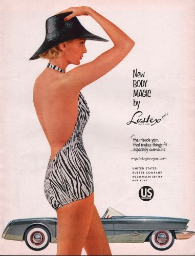 Lastex ad, 1954 vintage animal print one-piece bathing suit