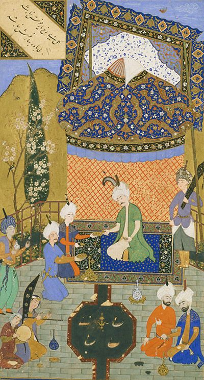 Muhammad Qutbshah - Arts of the Islamic World   Folio from a <i>Divan</i> (collected poems) by Hafiz (d. 1390); recto: text: Poem of the contentment of heart and soul; verso: illustration and text, Prince entertained on a terrace  