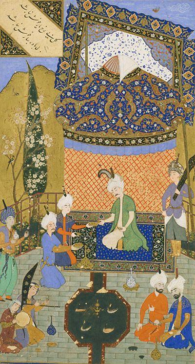 prince entertained on a terrace divan hafez 1523 shaybanid dynasty