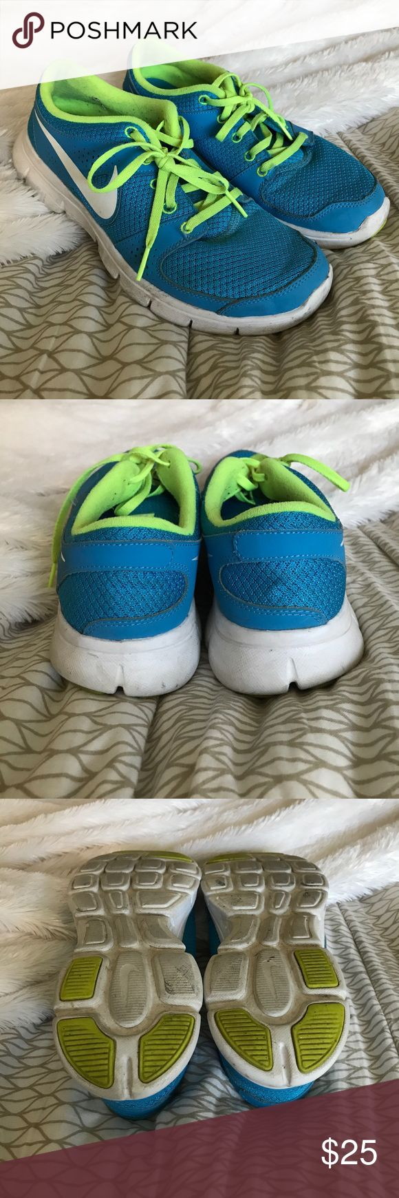 Nike Sneakers These Nikes are 100% authentic and have only been worn maybe three times. Excellent condition with no signs of wear or tear. Slight scuffing that can definitely come out in the wash! Very vibrant!  Always remember when shopping within my closet:  😊Always open to reasonable offers ♥️20% off all bundles 🚫I do not trade  💸I only sell on posh  🗣I am always open to questions and will      respond quickly 💌Since I am a student it will take approx      3-4 days for me to ship…