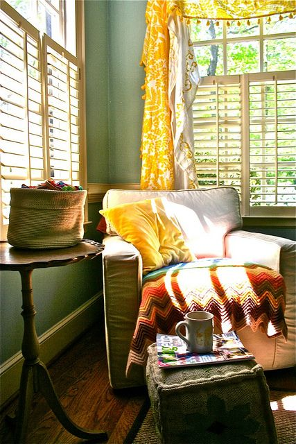 afternoon tea in a quiet corner: Reading Corners, Cozy Corner, Reading Space, Blue Room, Living Room, House, Place