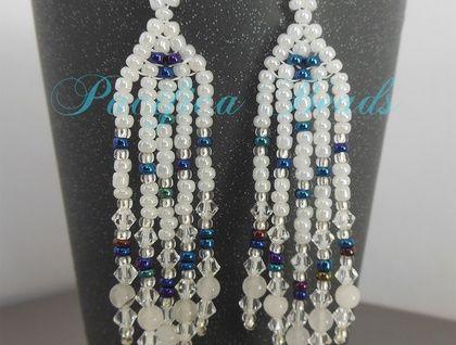 White beaded earrings- long fringe