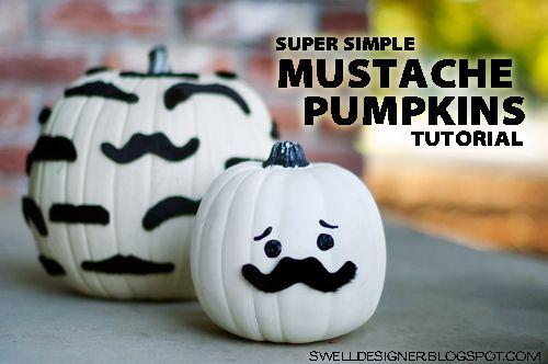 The Swell Life: Mustache Pumpkin DIY Tutorial: Pumpkin Crafts, Halloween Parties, Idea, Mustache Pumpkin, Pumpkin Diy, Diy Tutorials, Pumpkins, Pumpkin Decor, Diy Fall Crafts