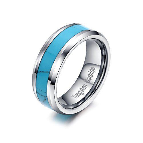メンズ タングステン リング 指輪,クラシック シンプル ブルー 青 ターコイズ (トルコ石) 結婚指輪, シルバ…