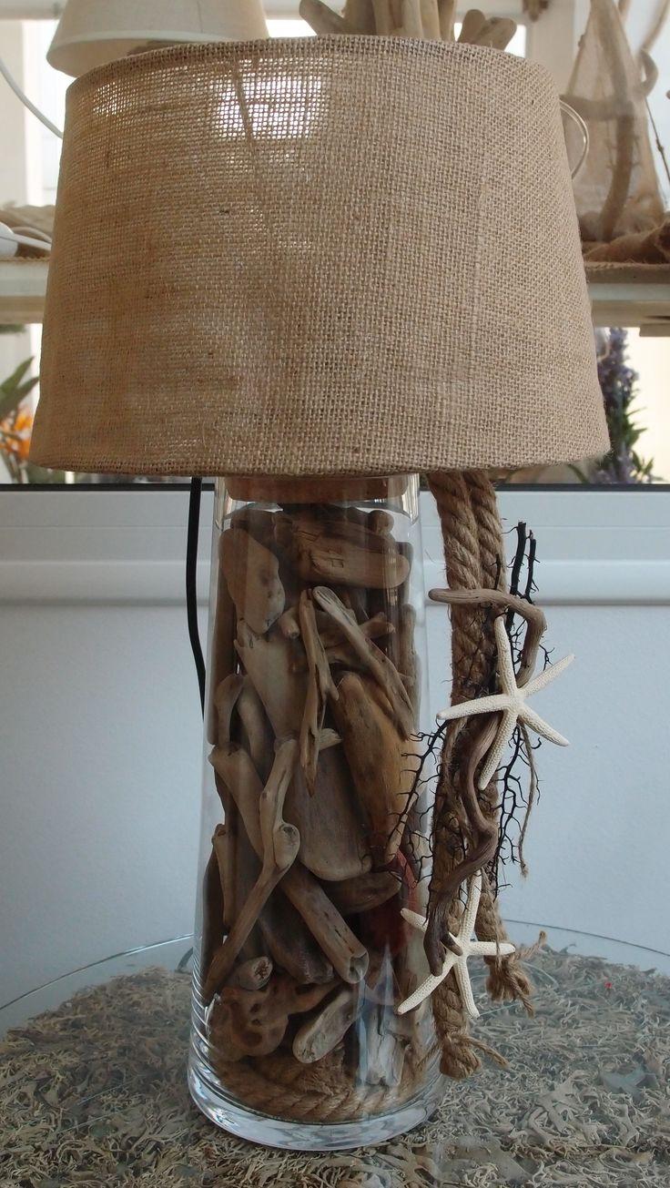 driftwood Lamp..φωτιστικό-πορτατίφ γυάλα με θαλασσοξυλα σχοινί, κοράλλι & αστερία