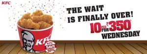 KFC Wednesday Offer- Get 10 Pcs Hot & Crispy Chicken At Rs 350 only