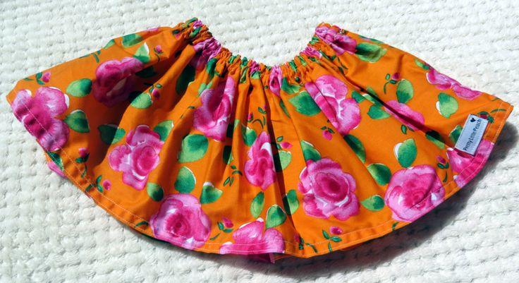 Orange Rose Circle Skirt, Size 00 by PrettyLittlePeachs on Etsy